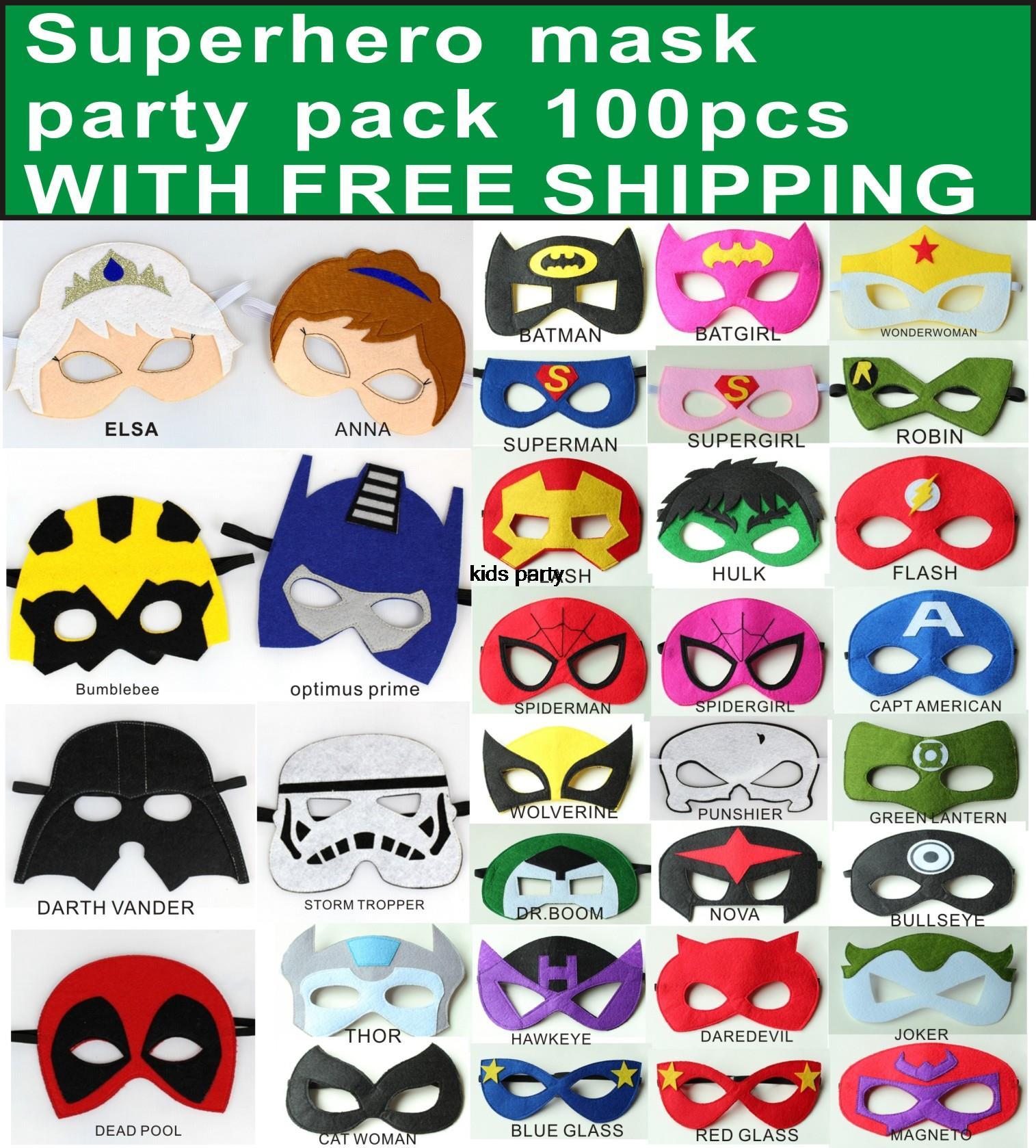 100pcs felt mask hallown mask costume mask kids costume accessories batman elsa deadpool tmnt starwars darth vader storm