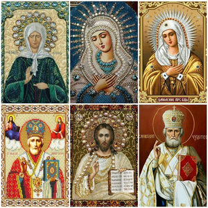 LZAIQIZG Diamond Mosaic Full Drill Square Icon Religion Diamond Painting Virgin Mary Rhinestone Embroidery With Diamonds