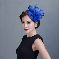 ShanFu Ladies Sinamay Small Bridal Hat Fascinators with Feather Floral Church Hat with Headband chapeau femme mariage