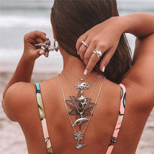 Bohemian Fashion Memaid Pendant Multi-Layer Fish Female Necklace Color Stone Silver Choker Trend Party Jewelry New