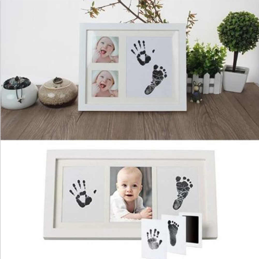 Baby Paw Print Pad Foot Print Photo Frame Pad Non-Toxic Inkless Wipe DIY Handprint Footprint Keepsake Kit Newborn Ink Pad Toys