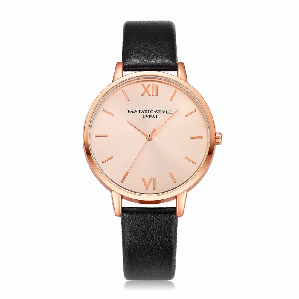 2018 Rose Gold Lvpai Brand Leather Watch Women Luxury Classic Wrist Watch Fashion Casual Simple Quartz Wristwatch Clock Watches