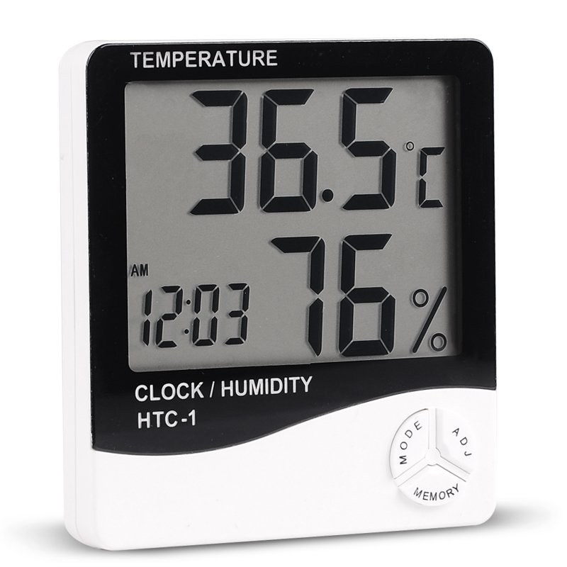 HTC-1 Indoor Room LCD Digital Electronic Thermometer Hygrometer Measuring Temperature Humidity Meter Alarm Clock Weather Station 1pcs high accuracy lcd digital thermometer hygrometer electronic temperature humidity meter clock weather station indoor