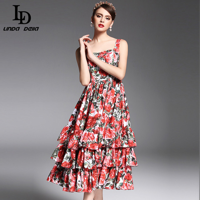 Newest Summer Spaghetti Strap Sexy Tiered Red Rose Floral Printed Mid Calf Dress