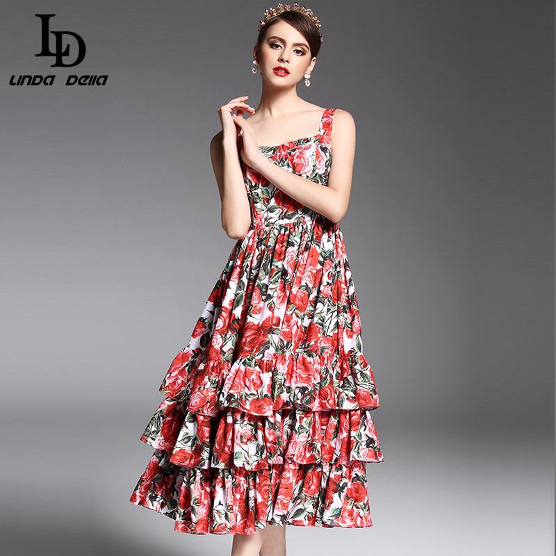 2017 Newest Summer Fashion Designer Runway Dress Womens Spaghetti Strap Sexy Tiered Red Rose Floral Printed Mid Calf Dress