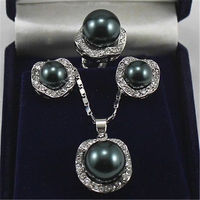 HOT SELL Wedding Jewelry 10mm &14mm Black Necklace Earrings Ring Set Top quality free shipping