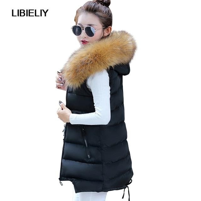 US $35.44 22% OFF|Nice Vrouwen Winter Capuchon Bontkraag Vest Vrouwelijke Lange Slanke Bovenkleding Mouwloze Jas Jas Dames Vest Big Size 4XL Colete in