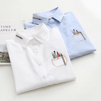 Dioufond Work School Shirts Women Blue White Blouses Girls Korean Style Top Female Cotton Long Sleeve