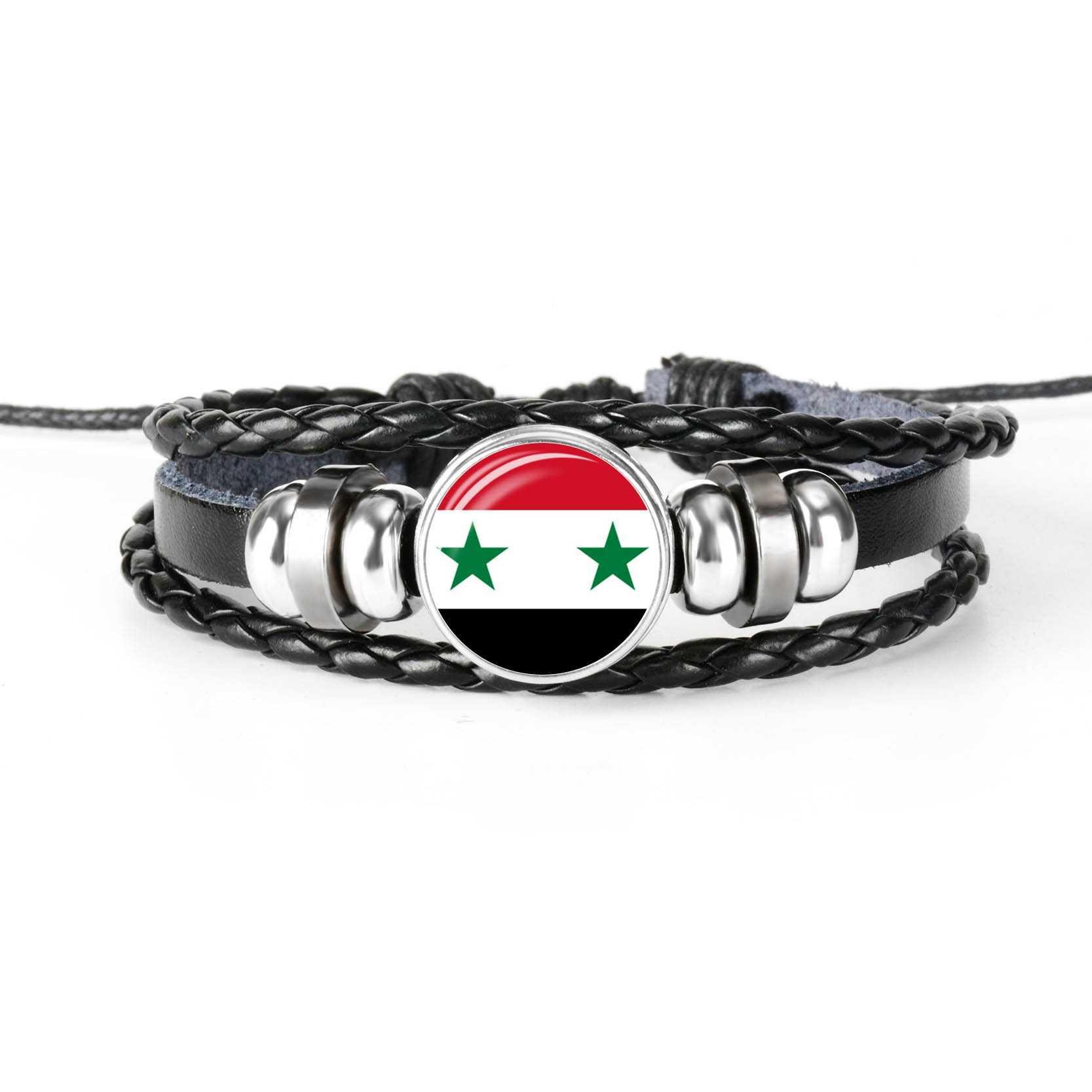 2019 新ファッション手作りシリアアメリカ旗バングルブレスレット男性と女性ガラスカボション革ブレスレットの宝石類のギフト