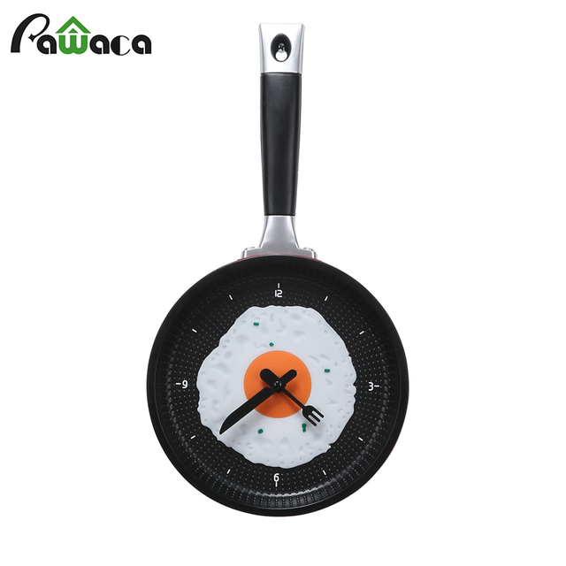 Home Decoration Wall Clock Creative Omelette Fry Pan Fried Egg Wall Hanging Clock Kitchen Digital Clock Funny Gift For Children