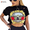 Fashion Punk Rock Guns N Roses Crop Top Hollow Out Short Tee Summer tshirt Women Top Clothing Cotton T-shirt Female Top Tees
