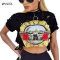 Moda Punk Rock Guns N Roses Camisa Corta Hollow Out Corto camiseta de Verano camiseta de Las Mujeres Ropa de Algodón Superior Camiseta Femenina de Tes Superior