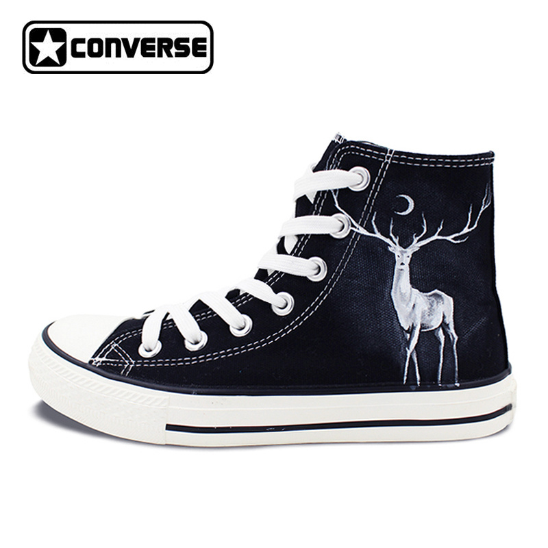 Winter Reindeer High Top Converse Hand Painted Shoes Custom Design Canvas Sneakers Unique Gifts for Men Women wen customed hand painted shoes canvas the beatles high top women men s sneakers black daily trip shoes special christmas gifts