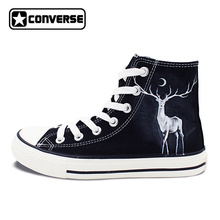Winter Reindeer High Top Converse Hand Painted Shoes Custom Design Canvas Sneakers Unique Gifts for Men