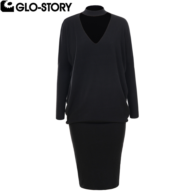 GLO-STORY Women 2018 Flare and Fit Plus Size Casual Autumn Sweater Dress Woman Fall 2018 Fashion Vestidos De Festa Club Dress