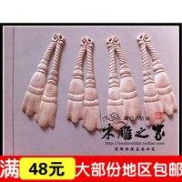 O novo Dongyang escultura em madeira de antiguidades Chinês floral remendo applique aparas de madeira esculpida mobiliário flor decorativa cordão