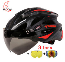 2018 MOON Magnetic Goggles MTB Road Mountain Cycling Helmet Bicycle Helmet In-mold Lens Bike Helmet glass