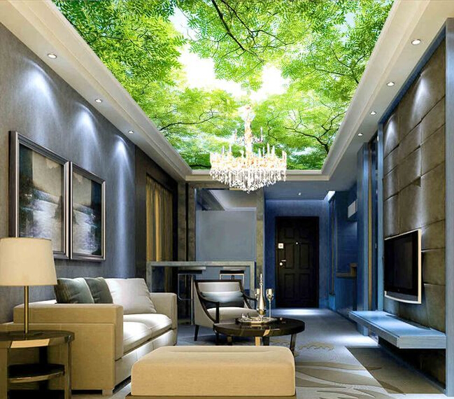 Custom Ceiling Wallpaper, Blue Sky And Forest Murals For The Living Room Bedroom Ceiling Wall Waterproof Papel De Parede