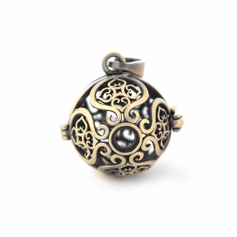 24x19mm Vintage Filigree Flower Hollow Cage Round Ball Locket Pendants For DIY Rhinestone Essential Oil Diffuser Perfume Chime