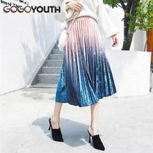 9b85d11c3 Promoción de Largo Plisado Faldas Para Las Mujeres - Compra Largo ...