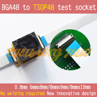 ТЕСТ ФЛЭШ BGA48 IC SOCKET BGA48 К TSOP48 тест гнездо для BGA48, Шаг = 0.8 мм Размер = 8 мм x 9 мм