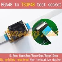 TEST FLASH BGA48 IC SOCKET BGA48 TO TSOP48 test socket for BGA48,Pitch=0.8mm Size=8mmx9mm