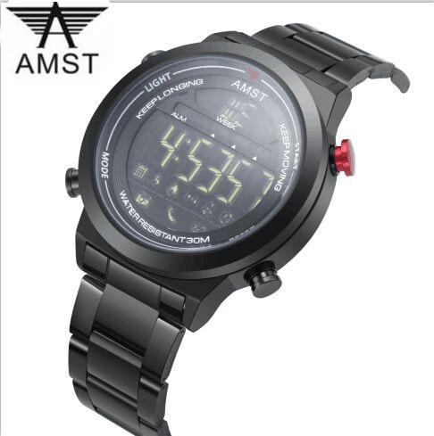 d4437cb714e 2018 AMST Marca Relógio Inteligente homens fashion designer rodada criativo  data relógios Bluetooth Remote camera relógio