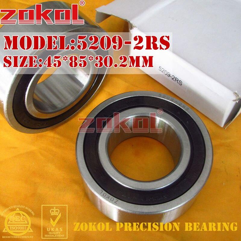 ZOKOL bearing 5209 2RS 3209 2RZ (3056209) Axial Angular Contact Ball Bearing 45*85*30.2mm zokol bearing 5317 2rs 3317 2rz 3056317 axial angular contact ball bearing 85 180 73mm