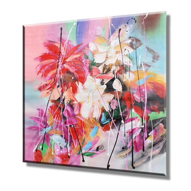 Hand painted Modern Abstract Spring Flowers Canvas Oil Paintings ...
