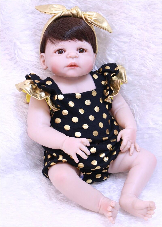 Yeux bruns bébé Reborn fille poupée 55 cm Silicone vinyle poupée avec des vêtements à pois menina poupée cadeau de noël enfant compagnon