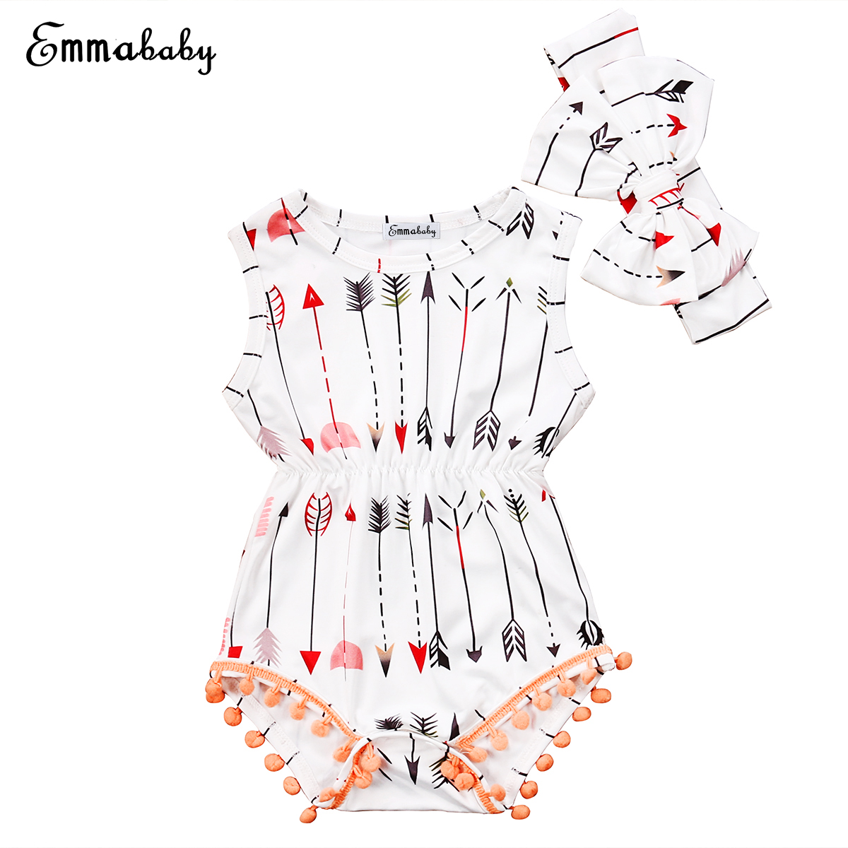 2017 Babies Girl Clothing Whilte Sleeveless Suit Newborn Toddler Baby Girls Arrow Bodysuit  Jumpsuit Outfit Clothes 0-24M fashion 2pcs set newborn baby girls jumpsuit toddler girls flower pattern outfit clothes romper bodysuit pants