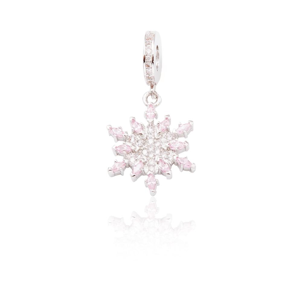 High quality 925 Silver Crystal Radiant snowflake Charm Fit Europe Original Pandora Charm Bracelet Jewelry Gift js1552
