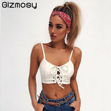 2017 Summer Lace Up Crop Top Bustier Sexy Sleeveless Women Backless Bandage Tops White Slim Camis Party Tank Top Camisole BN1587(China)