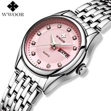 WWOOR Watch Women Stainless Steel Fashion Quartz Women Watches Brand Luxury Waterproof Ladies Wrist Watch Female Wristwatch Pink