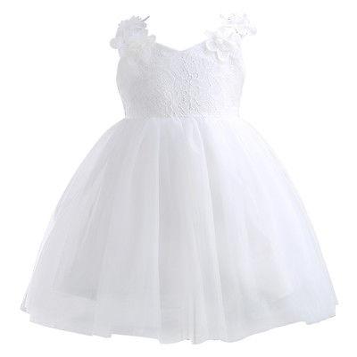 Fashion Flower Children Girl Dress Princess Kid Party Pageant Wedding Bridesmaid Tutu Ball Bow White Dresses 2 4 6 8 10 12 Years Discounts Price