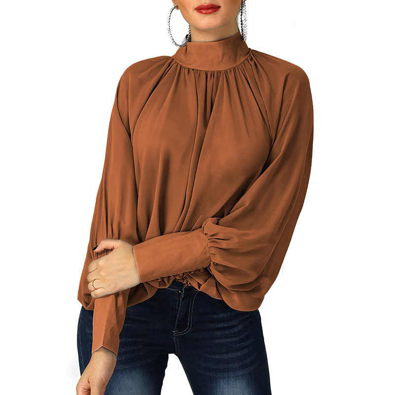 85de5418dc1 ... Womens Shirts Long Sleeve 2019 New Spring Batwing Sleeve Loose Chiffon  Blouses and Shirts Office Lady