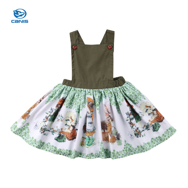 407be948f000 Kids Girl Vintage Style Summer Sleeveless Dress Princess Party Dresses  2-7Years Green Cartoon Cute Army Green Sweet