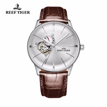 Watches White Tourbillon Tiger/rt Automatic Glass Dial-Steel Dress for Men Convex-Lens