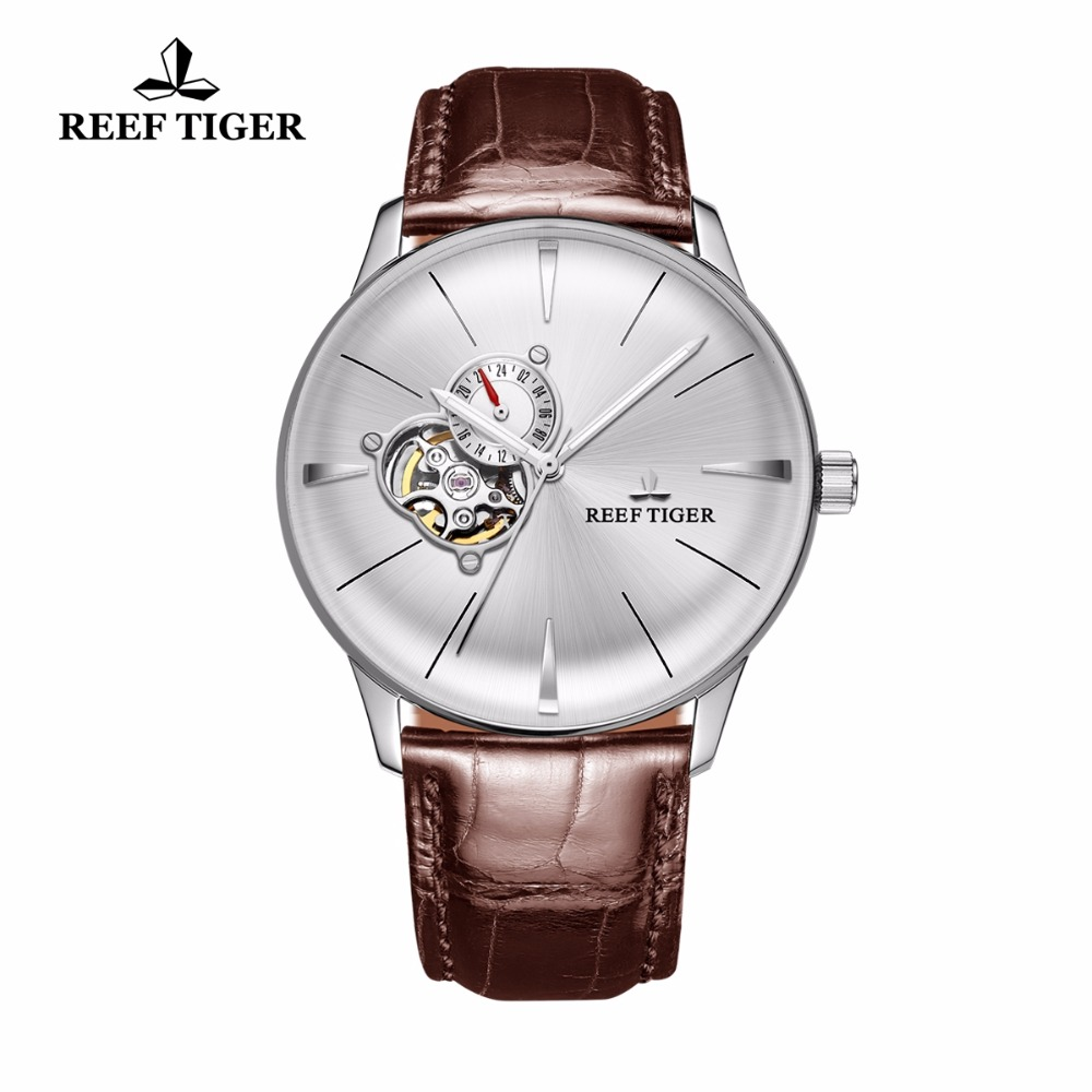 New Reef Tiger/RT Dress Watches for Men Convex Lens Glass Tourbillon Automatic Watches White Dial Steel Watch RGA8239 yn e3 rt ttl radio trigger speedlite transmitter as st e3 rt for canon 600ex rt new arrival