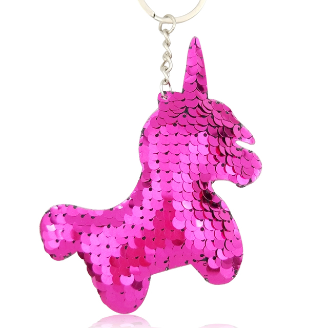 9 9.5CM Novelty Glitter Unicorn Keychain Pendant Color Sequins Animal Horse  Car Key Ring 5238753a9b11