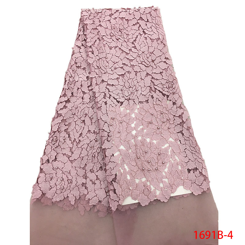 Onion Latest Nigerian Tulle Lace 2019 French Net Beaded Lace Fabric For Nigerian Wedding Embroidery African Lace Fabric 1691B-4