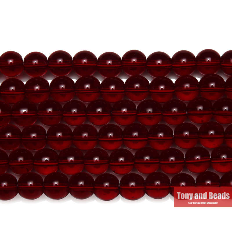 "Free Shipping Natural Stone Smooth Garnet  Glass Loose Beads 15"" Strand 6 8 10 MM Pick Size For Jewelry Making"