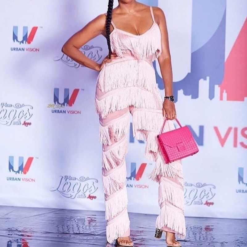 שוליים סרבל Rompers גדילים עמוק V צוואר ללא משענת ורוד סרבל Macacao Feminino אופנה סקסי סרבל נשים בסך הכל 2019