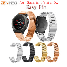 High quality 26mm Genuine Stainless Steel Bracelet For Garmin Fenix 5X Quick Release Fit Band Strap 3 GPS Watch