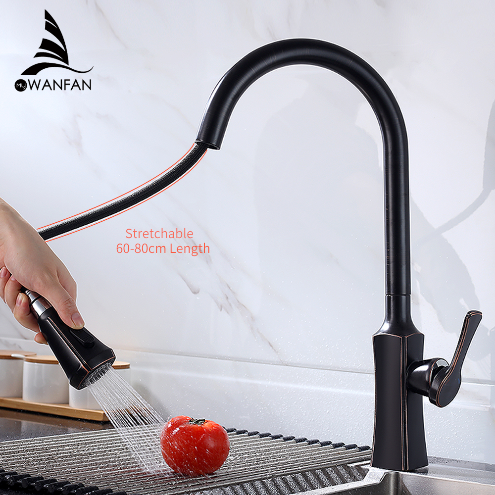 Kitchen Faucets ORB Single Handle Pull Out Kitchen Tap Single Hole Handle Swivel 360 Degree Water Mixer Tap Mixer Tap 866388