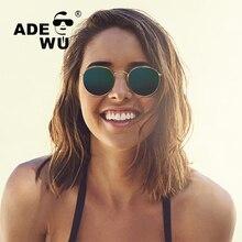ADE WU Top Marca de Lujo de gafas de Sol Mujeres Ronda Brown UV400 Retro gafas de Sol de la vendimia Para Mujer Hombre gafas de sol mujer Con El Caso