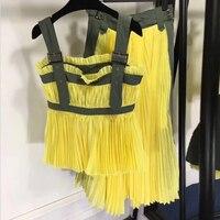 Женская юбка Комплекты из 2 предметов Женщины Юбка Топ 2018 майка и длинная юбка комплекты