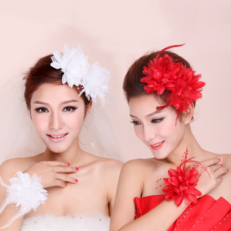 New Flower Feather Bead Corsage Hair Clips Fascinator Bridal Hairband Brooch Pin Hot  2016 trendy fabric blooming peony flower corsage brooch woman hair decorations