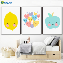 Cartoon Lemon Apple Heart Posters And Prints Canvas Painting Nordic Poster Wall Art Print Pictures Kids Room Home Decor