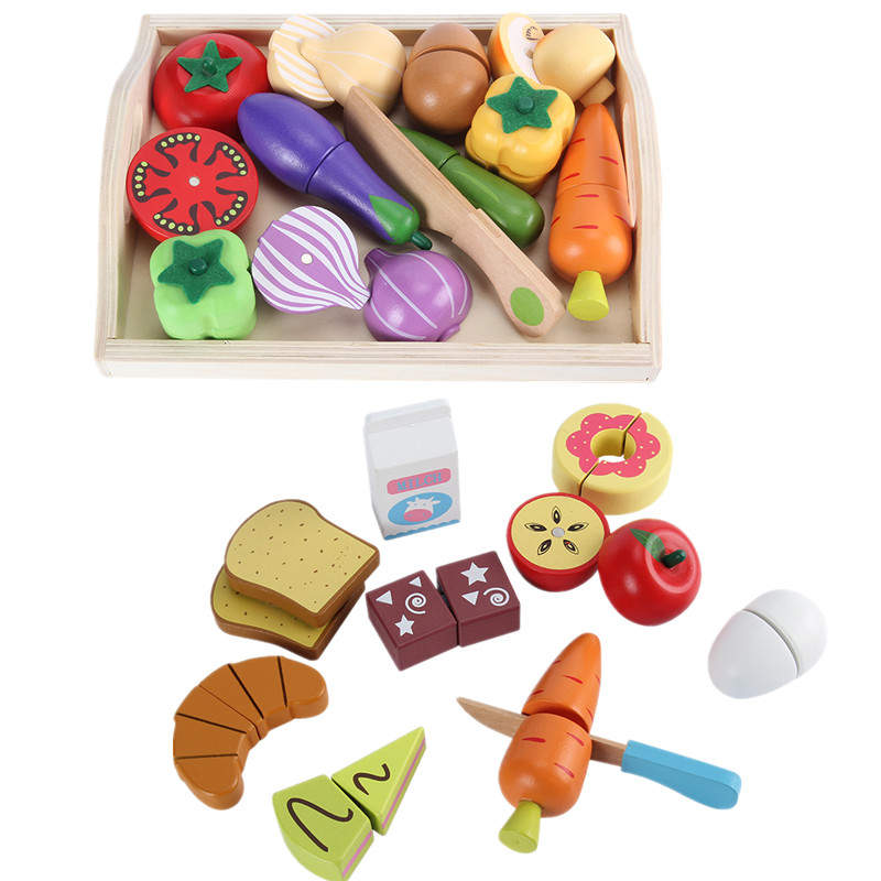 Baby Toys Educational Cutting Set Fruits/ Vegetable/Dessert Wooden Toys Play Food Kitchen Children Play House Birthday Gift utoysland cutting toys kitchen food toys fruit fish vegetable blocks children lovely wooden toys play house toy for baby kids